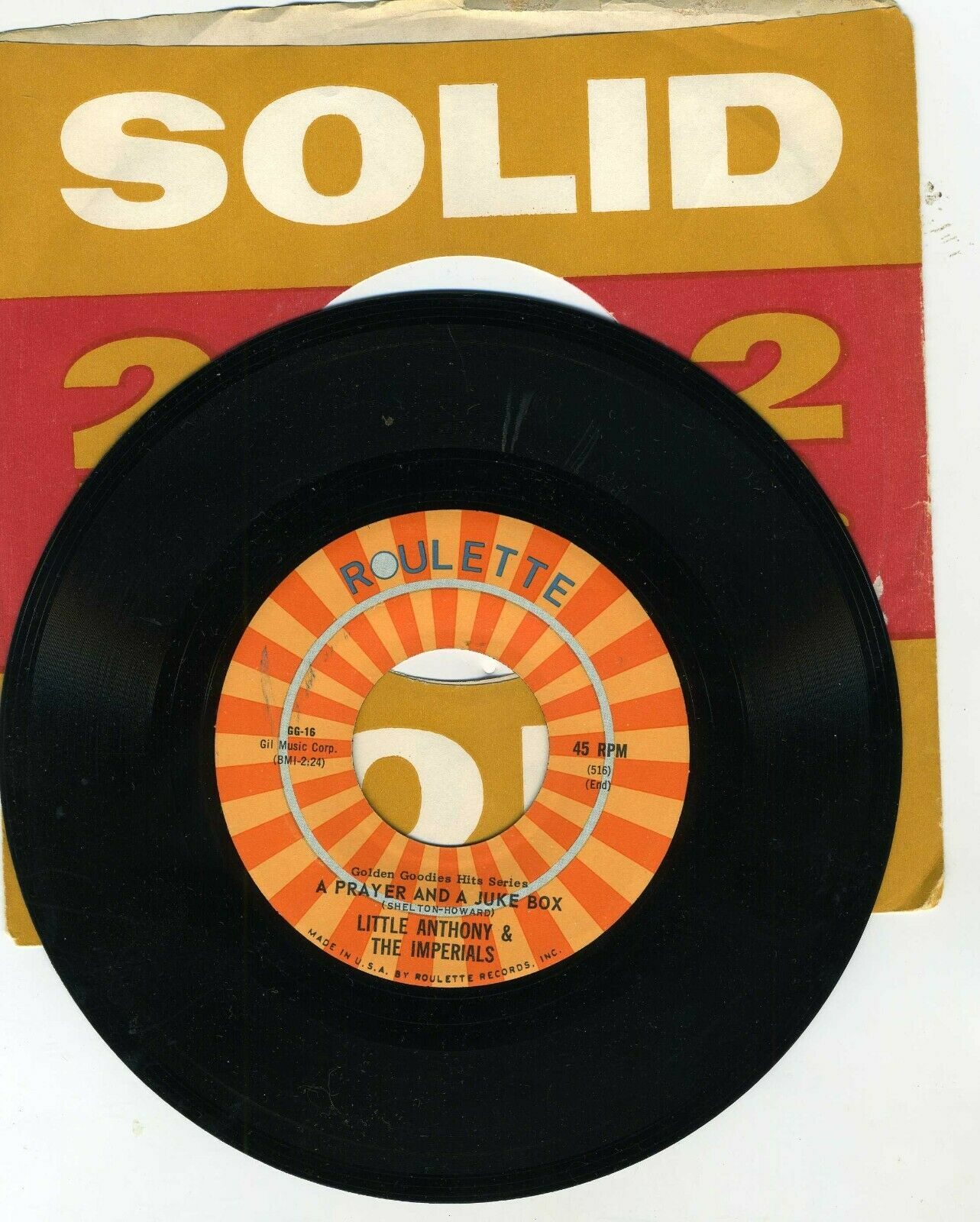 Little Anthony The Imperials Tears On My Pillow / A Prayer And A Juke Box 45 - $4.00