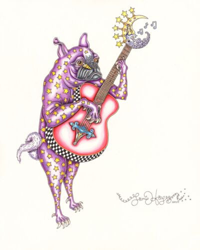 PUG PLAYING GUITAR Jamie Hayes NEW ORLEANS MARDI GRAS SIGNED LITHOGRAPH