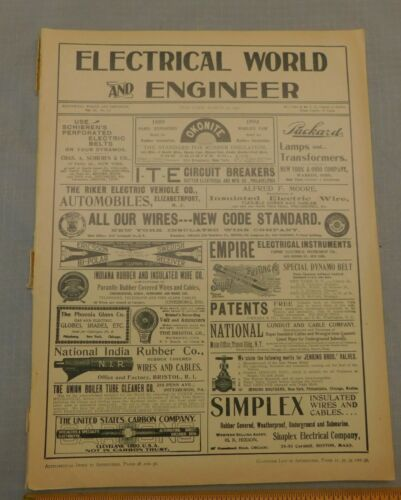 Electrical World & Engineer Magazine  March 24 1900 Issue  Antique Electric