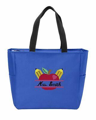 Teacher Apple Tote - Personalized Teacher's Apple Monogram Shoulder Bag|Embroidered Custom Tote Bag