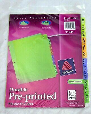 Avery 12-month Plastic Divider Tabs - Pre-printed Jan-dec 11331