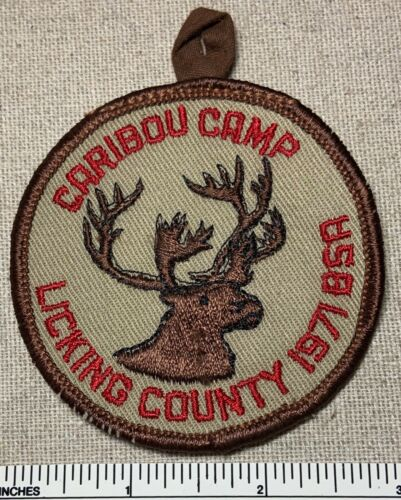 Vintage 1971 LICKING COUNTY COUNCIL Boy Scout CAIBOU CAMP PATCH BSA Scouts Ohio