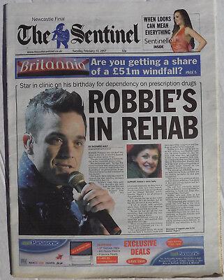 ROBBIE WILLIAMS Newspaper STOKE Sentinel Feb. 2007 ' Robbie's In Rehab ' Cover +