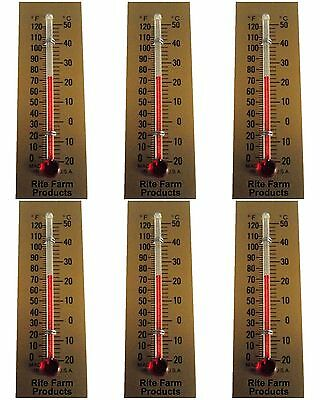 6 Pack Rite Farm Products Glass Temperature Thermometer Egg Incubators Chickens