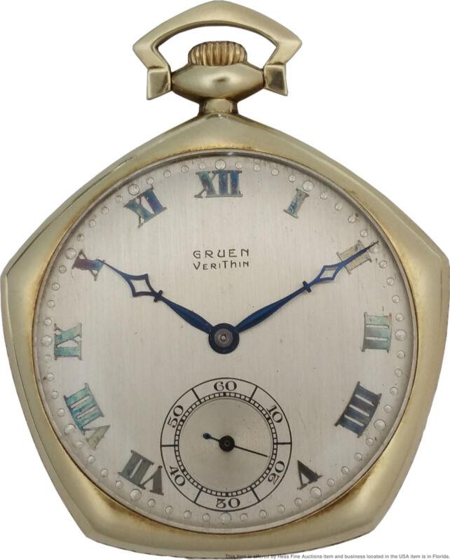 Scarce Heavy 14k Gold Gruen Precision Veri-Thin Pentagon Art Deco Pocket Watch
