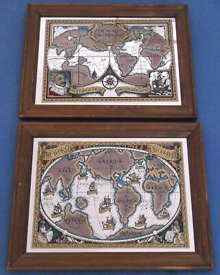 Francis Drake/'s Voyages around the World 1590s Old World Map Poster 20x30