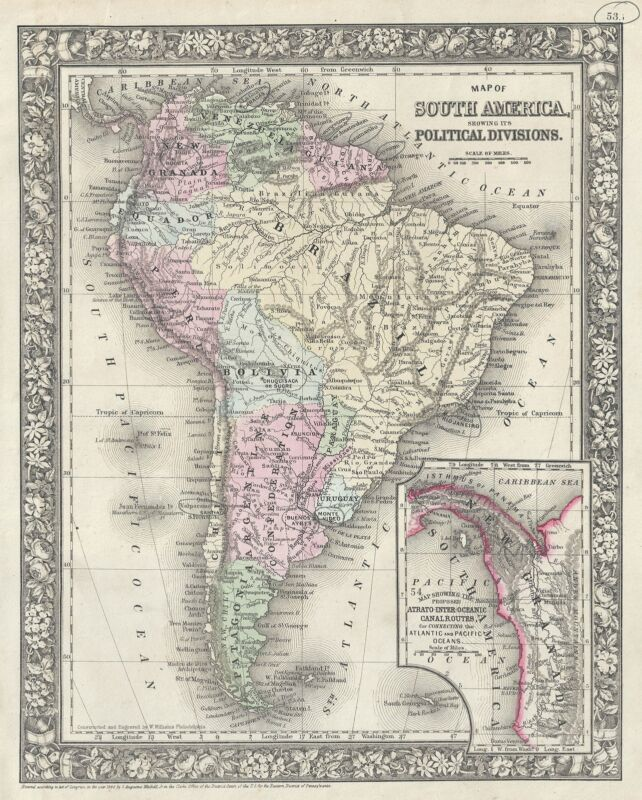 1866 Mitchell Map of South America