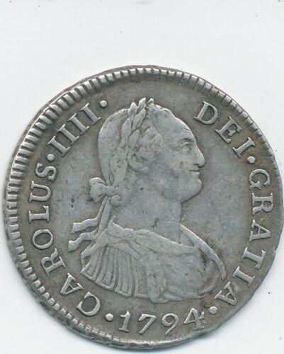 1794 IJ , PERU,  VF-XF,  SILVER,  2 REALES,  KM #95