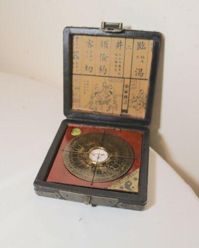 vintage handmade Chnese Feng Shui compass instrument in wooden brass box