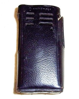 Genuine Leather Black Motorola Tall Service Radio Holster With Top Snap Band