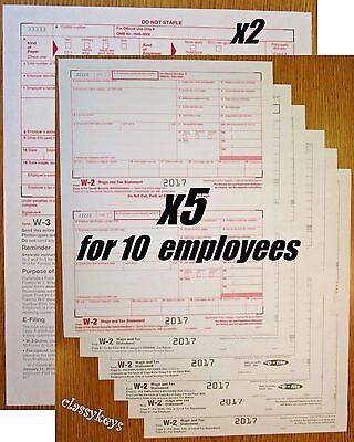 2017 Irs Tax Form W 2 Wage Stmts 6 Pt Laser For 10 Employees   Forms W 3  Tf5650