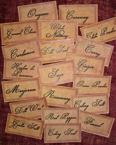 Set of 48 VINTAGE LOOK SPICE / PANTRY LABELS GRUNGY / Primitive Tea Stained