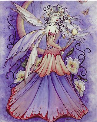 ENCHANTED MOON Fairy Ceramic Art Wall Tile Jessica Galbreth faery faerie plaque