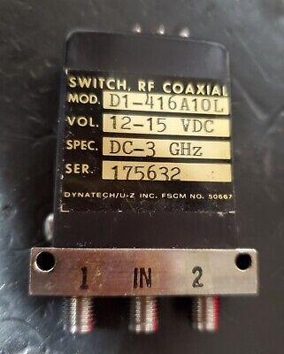 Dynatech Microwave D1-416a10l Coax Switch Dc To 3 Ghz Spdt 12-15vdc Sma F
