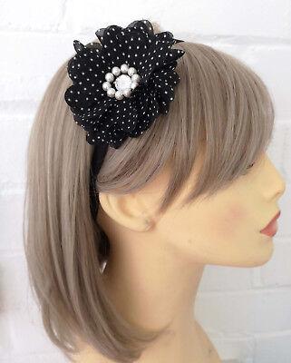 Black & white polka dot flower & pearl bead elasticated headband - kylie band  - Black And White Polka Dot Headband
