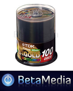 100 TDK Gold Blank CD-R media 52X CD -R