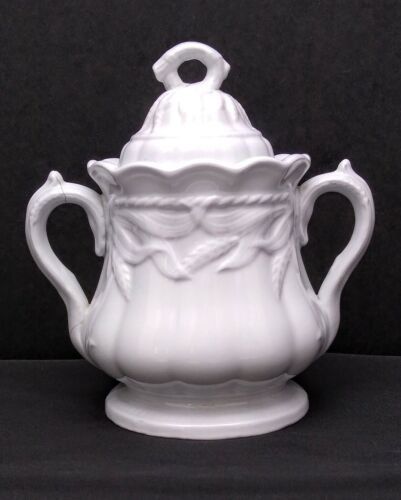 Antique White Ironstone Wheat Pattern Sugar Bowl with Lid Turner, Goddard & Co.