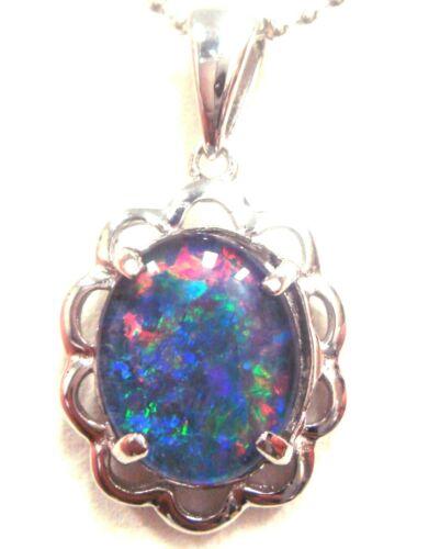 Australian Opal Natural Black Triplet Opal Pendant  FREE JEWELLERY BOX!!!