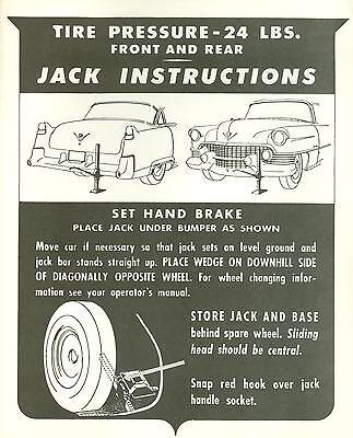 1955 Cadillac Jack Instruction Notice