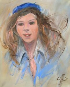 ORIGINAL-PENNY-CLANDON-S-W-A-OIL-Jenna-Girl-PAINTING