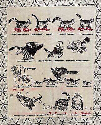 Vintage 1990 B Kliban Sneaker Cat Lounging TV Throw Blanket Rare!