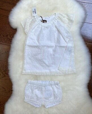 NWT Hucklebones London Boutique ivory white lace flutter dress and bloomers 6m