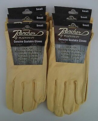 Rancher By Plainsman 6 Pairs Goatskin Leather Wholesale Work Gloves Small