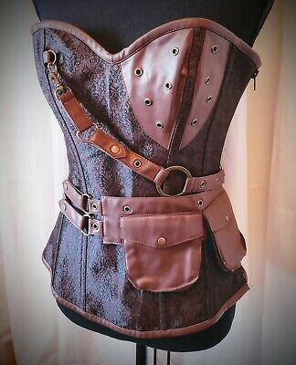 Cosplay/Steampunk/Viking Vegan Leather Corset~Bustier by Alacki Size Large