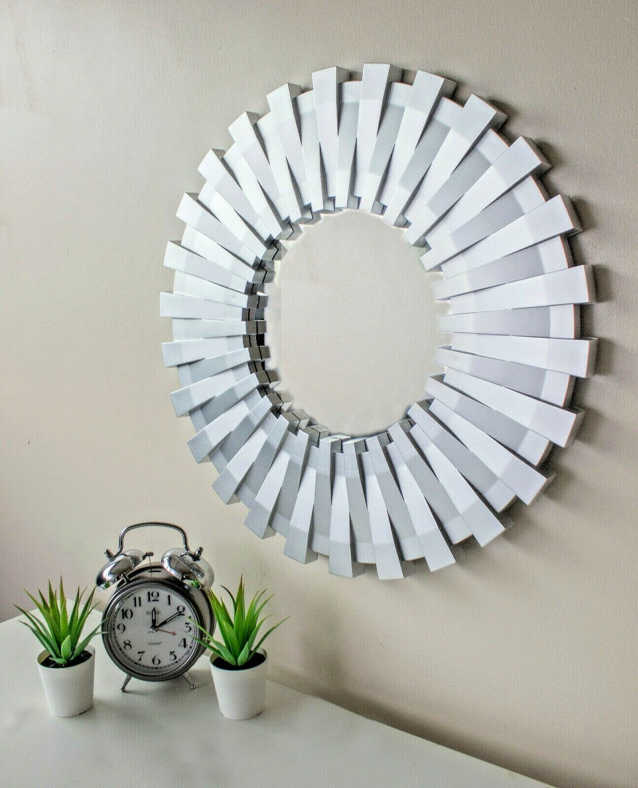 mirror - 50cm Sunburst Wall Mounted Silver Mirror Large Home Decor Round Modern Vanity