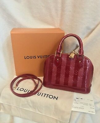 LOUIS VUITTON ALMA BB RAYURES RED PURPLE VERNIS HANDBAG -RECEIPT-EXCELLENT!!