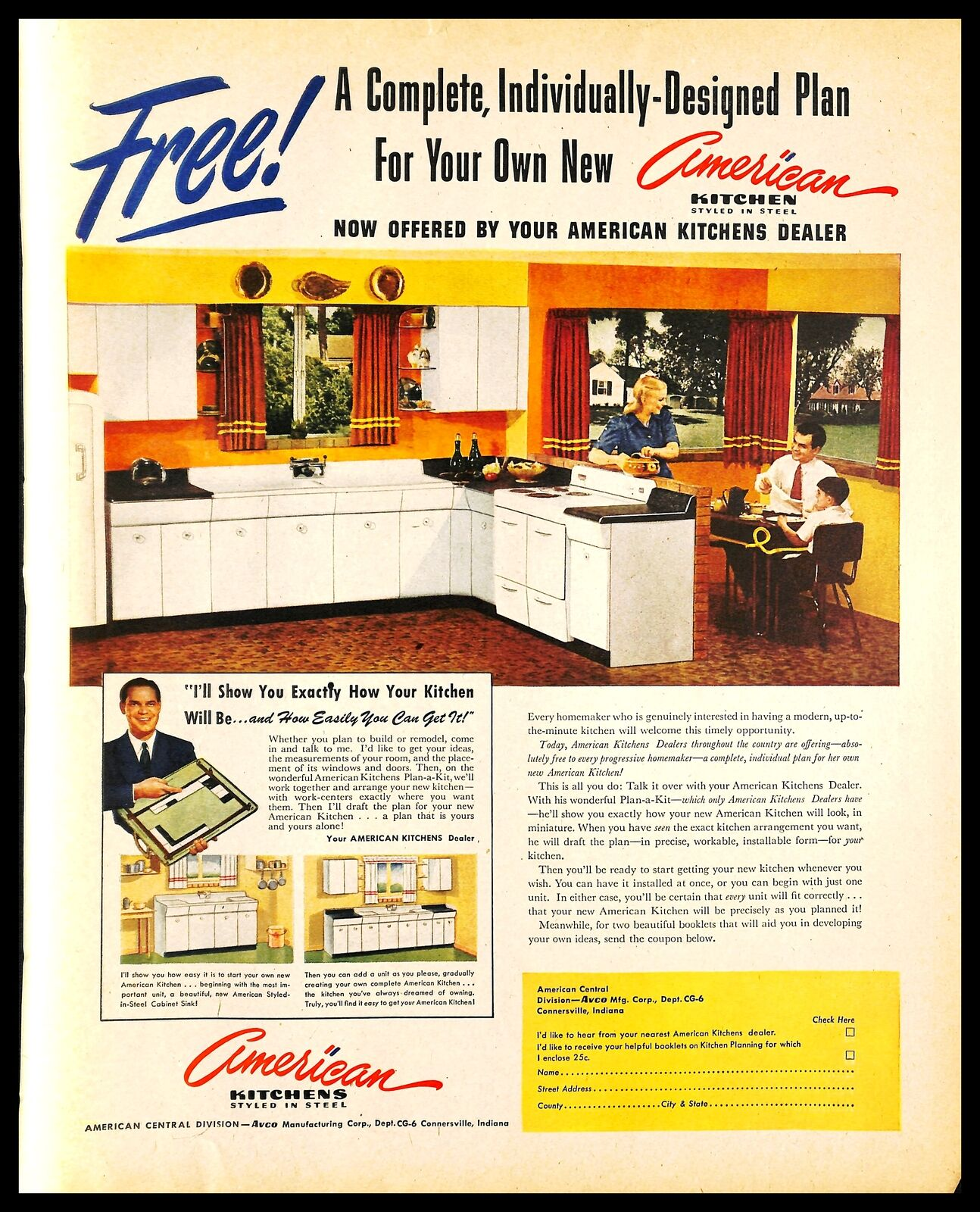 1948 American Kitchens Vintage Print Ad Mid Century Steel Cabinets Family 1940s Ebay