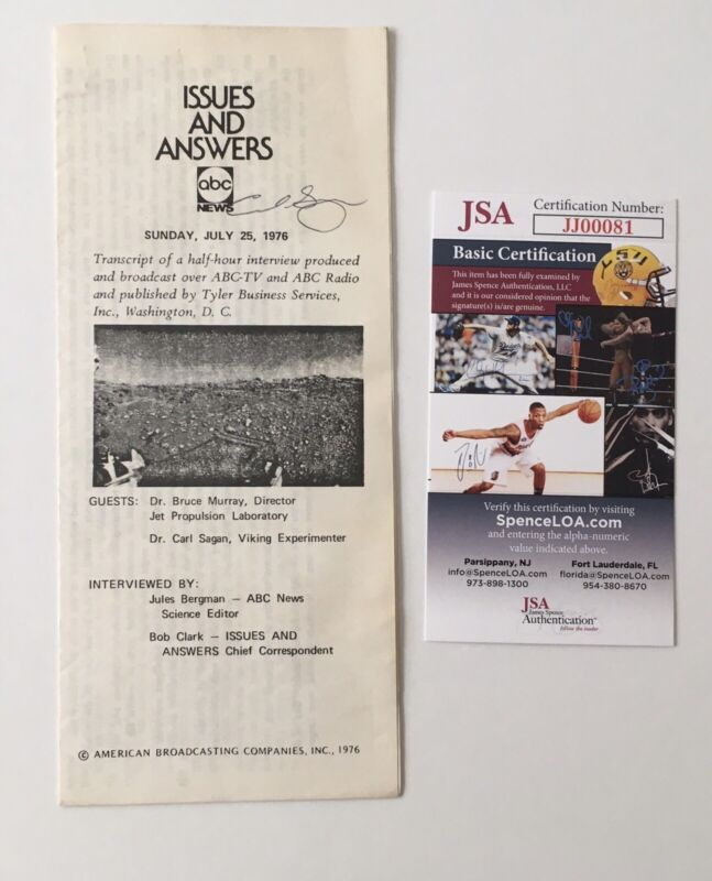 Carl Sagan Signed Autographed Pamphlet JSA Certified Cosmos