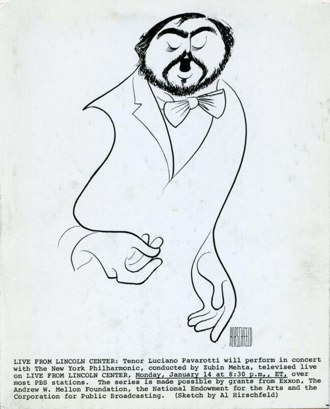 Luciano PAVAROTTI (Opera): Caricature Portrait by Al HIRSCHFELD