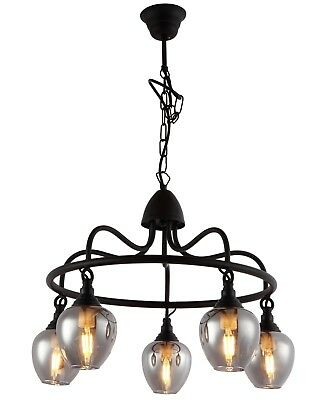 Vintage Industrial Retro  5 Light  Black Ceiling Chandelier