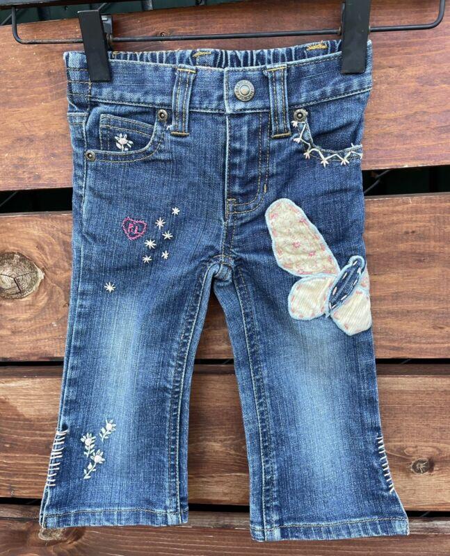 Ralph Lauren Toddler Girl Embroidered Denim Pants Size 18 months