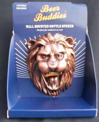 Bottle Opener - Beer Buddies - Out In Wall Mount Half Pinter Lion BRONZE Wall Mount Bottle Opener