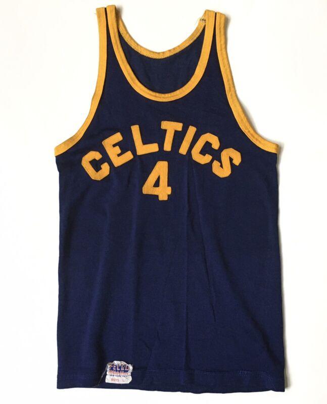 Vintage 60s Felco New York City Boys Felt Letter Celtics Basketball Jersey 4
