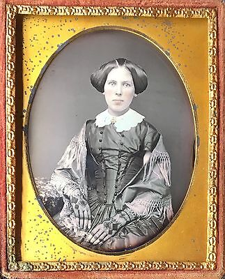 CLAVERACK INSTITUTE 1855 NEW YORK MILITARY ACADEMY WOMAN 1/9 DAGUERREOTYPE D416