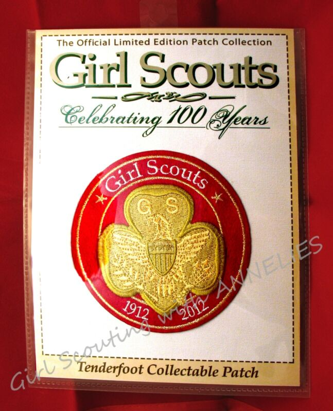 """2012, 100th Anniversary 4"""" PATCH Girl Scouts """"TENDERFOOT"""" New, CHRISTMAS GIFT"""