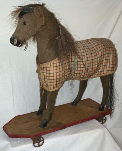 ANTIQUE GERMAN LARGE PULL TOY - HORSE ON WHEELED PLATFORM