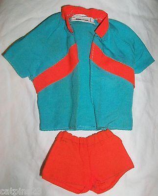 BARBIE DOLL KEN Outfit Orange Blue SHIRT SHORTS 1970s Tagged Hong Kong Clothing  - $23.95