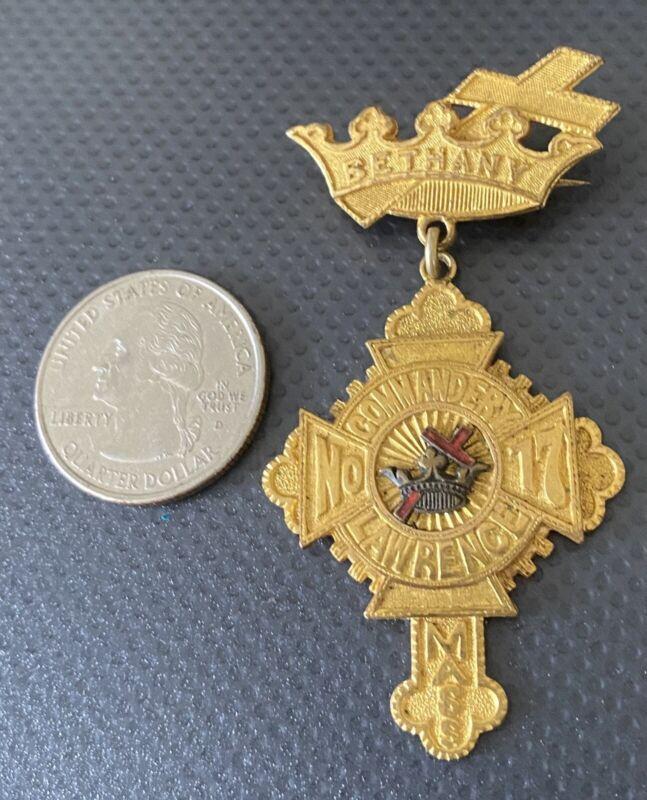 Masonic Knights Templar Lawrence, Mass. Bethany, Commandery No 17 Badge Pin
