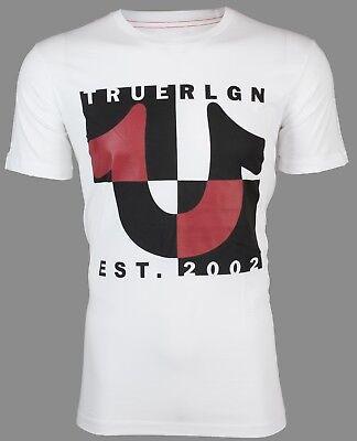 TRUE RELIGION Mens T-Shirt HORSESHOE SPLIT White w Black Red Print $69 Jeans NWT