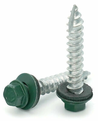 14 Hex Washer Head Roofing Screws Mechanical Galvanized Green Finish
