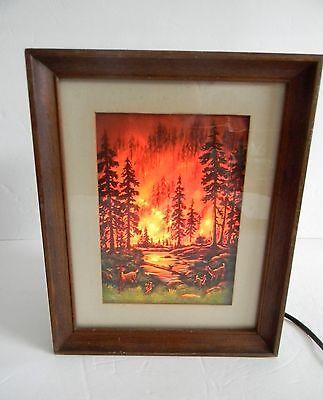 Econolite motion lamp in picture frame design - forest fire scene  segunda mano  Embacar hacia Argentina