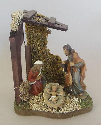 Heilige Familie ca. 9 cm im Familienstall (15 cm hoch) Krippenfiguren Polystone