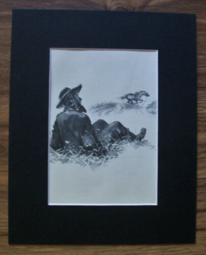Print Runaway Horse Wesley Dennis Mustached Man Thrown Off 1950 Bookplate Matted