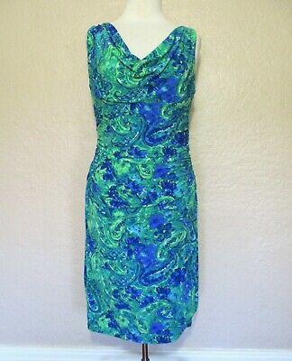 Lauren Ralph Lauren Dress Size 12 Women green blue white stretch knit sleeveless