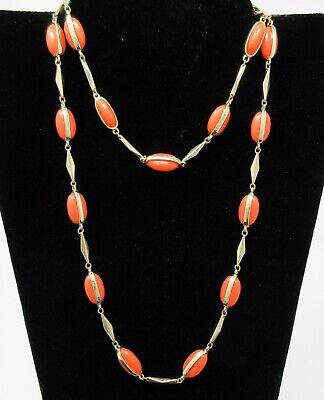 J Crew ORANGE Coral Bead Long 3 ft Necklace Gold Tone Double Strand  ()