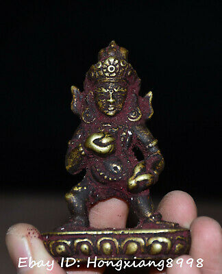 Old Tibet Buddhism Bronze Cinnabar Yellow Jambhala Wealth God Statue Statues
